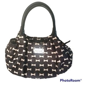 Kate Spade Black And White Bow Hobo Shoulder Bag